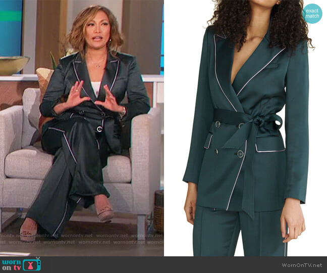Eiza Belted Dickey Jacket and Pants by Veronica Beard worn by Carrie Inaba  on The Talk