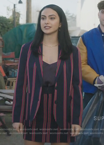 Veronica's blue stripe blazer and shorts on Riverdale