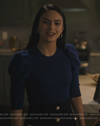 Veronica's blue puff sleeve top on Riverdale