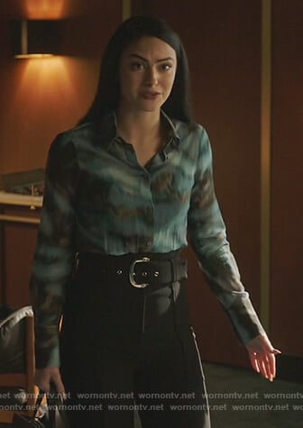 Veronica's blue tie dye blouse on Riverdale