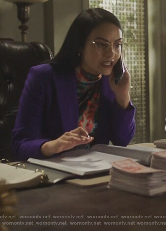 Veronica's flora printed turtleneck top on Riverdale