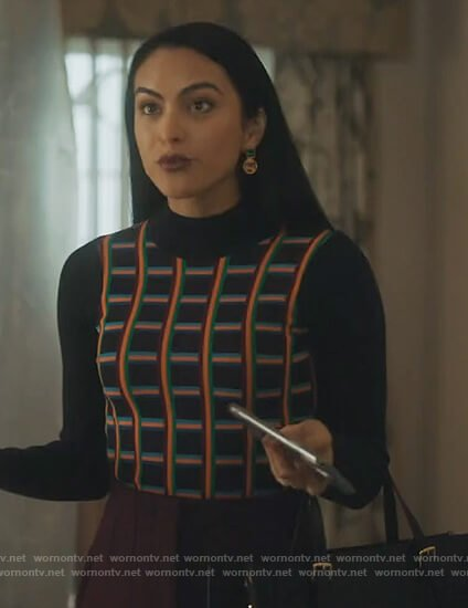Veronica's navy checked sweater on Riverdale