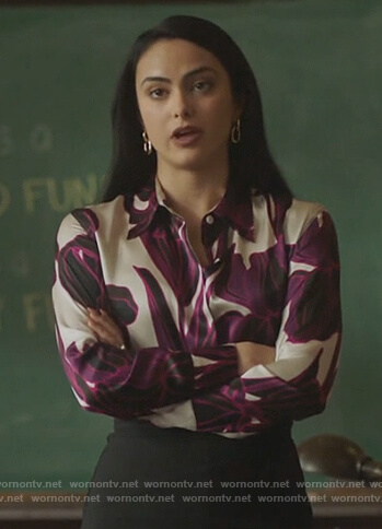 Veronica's satin floral print blouse on Riverdale