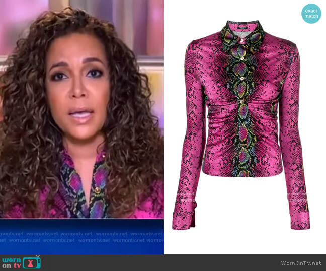 Ruched Python-Print Jersey Top by Versace worn by Sunny Hostin  on The View