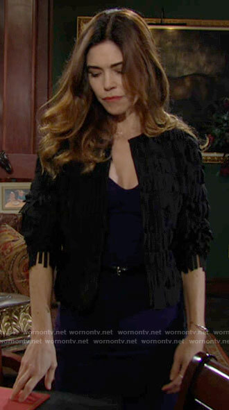 Victoria's black fringe jacket on The Young and the Restless