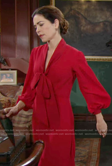 Victoria's red tie neck dress on The Young and the Restless