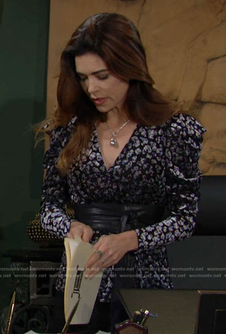 Victoria's velvet leopard print wrap top with puff shoulders on The Young and the Restless