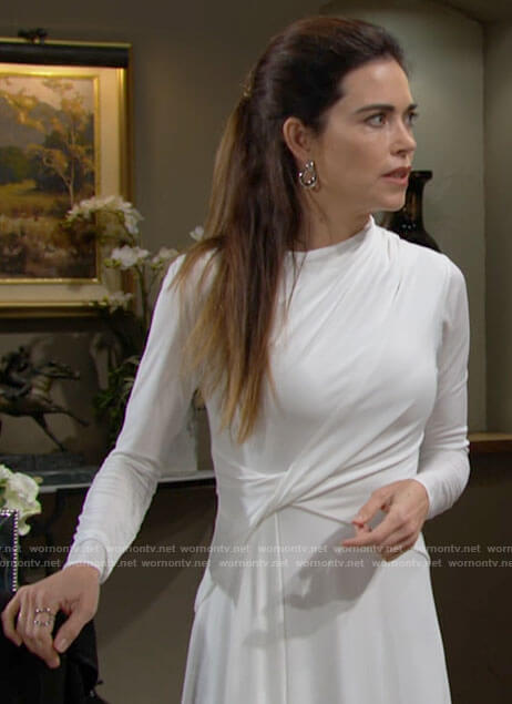 Victoria's white long sleeved twist front dress on The Young and the Restless
