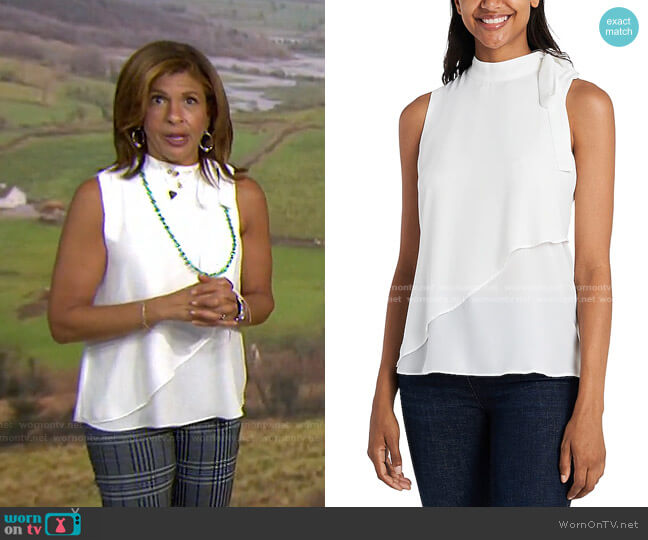 Asymmetrical overlay Tie Neck Top by Vince Camuto worn by Hoda Kotb  on Today