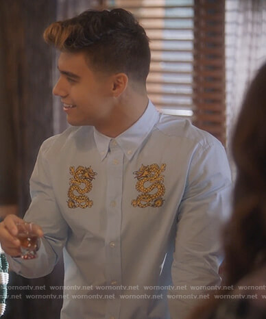 Vivek's white dragon embroidered shirt on Grown-ish