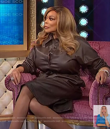 Wendy's brown leather dress on The Wendy Williams Show