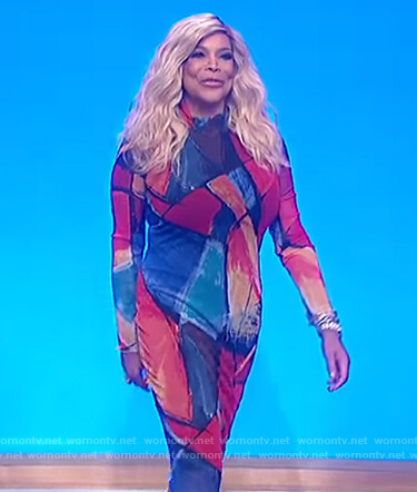 Wendy's multicolored print dress on The Wendy Williams Show