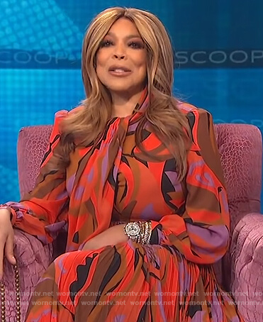 Wendy's abstract print tie neck dress on The Wendy Williams Show