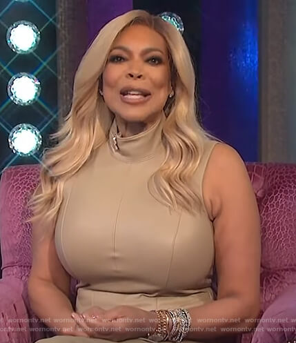Wendy's beige sleeveless leather dress on The Wendy Williams Show