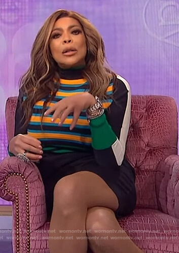 Wendy's blue stripe knit dress on The Wendy Williams Show