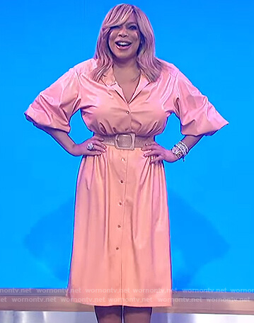 Wendy's pink leather shirtdress on The Wendy Williams Show
