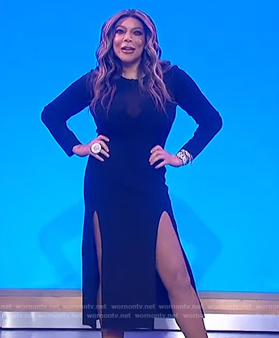 Wendy's black dress with side slits on The Wendy Williams Show