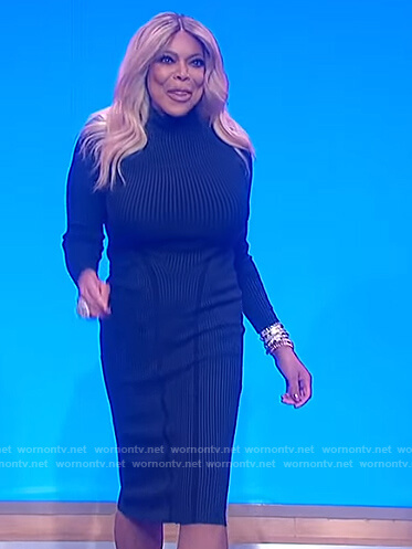 Wendy's green ribbed dress on The Wendy Williams Show