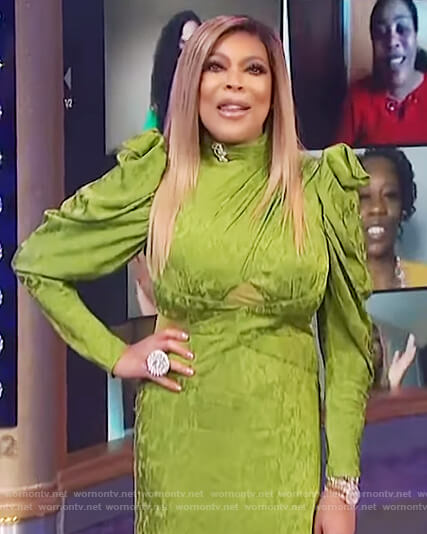 Wendy's green puff sleeve dress on The Wendy Williams Show