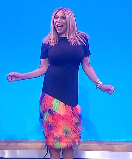 Wendy's black dress with multicolored fringe on The Wendy Williams Show