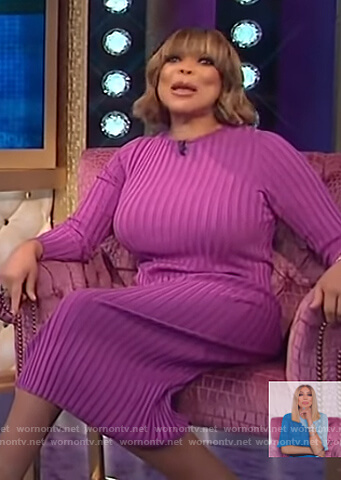 Wendy's purple ribbed dress on The Wendy Williams Show