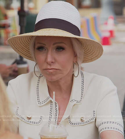 Margaret's white contrast stitching polo on The Real Housewives of New Jersey