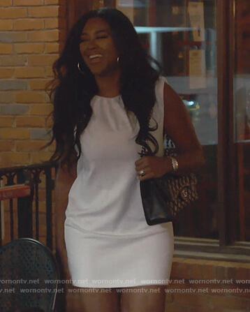 Kenya's white sleeveless mini dress on The Real Housewives of Atlanta