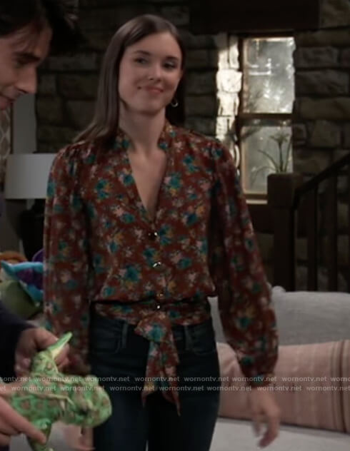 Willow's brown floral wrap blouse on General Hospital