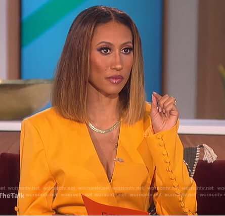 Elaine's yellow button sleeve blazer on The Talk