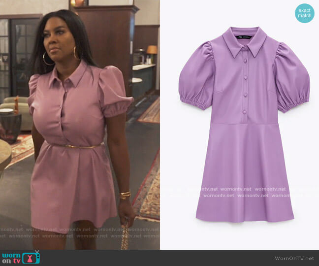 Faux Leather Mini Dress by Zara worn by Kenya Moore  on The Real Housewives of Atlanta