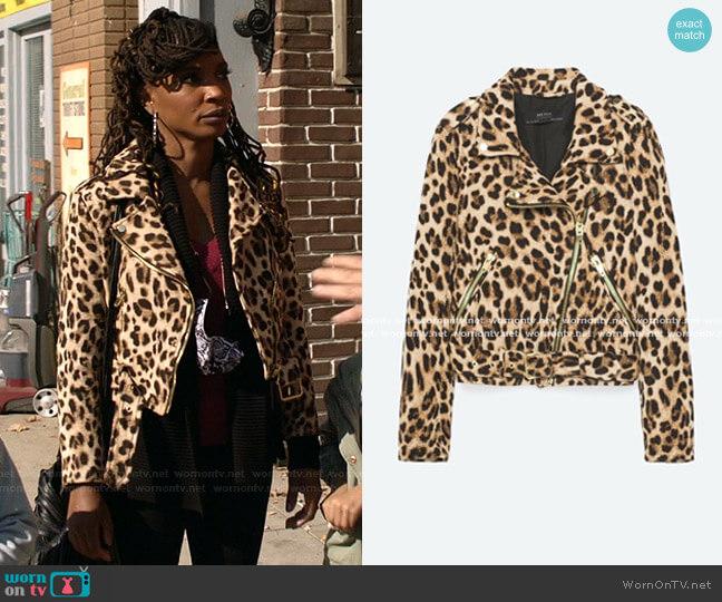 Animal Print Biker Jacket by Zara worn by Veronica Fisher (Shanola Hampton) on Shameless
