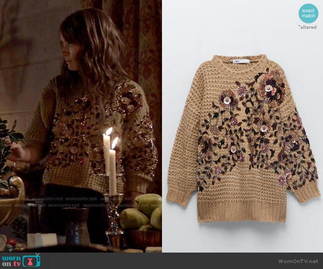 Zara Embroidered Oversized Sweater Limited Edition worn by Beth Kane (Rachel Skarsten) on Batwoman