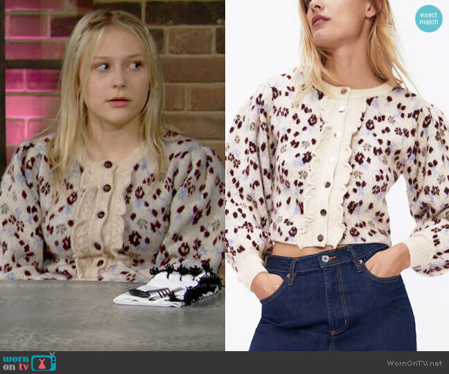 Zara Knit Jacquard Jacket worn by Faith Newman (Alyvia Alyn Lind) on The Young & the Restless