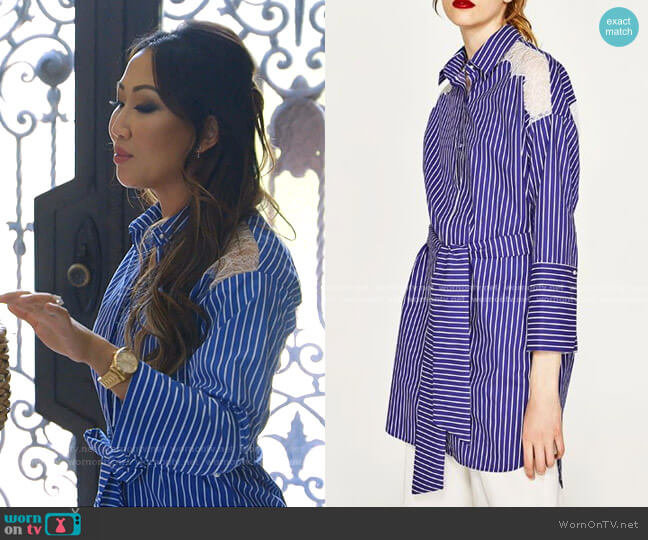 Stripe Shirt Dress by Zara worn by Tiffany Moon  on The Real Housewives of Dallas