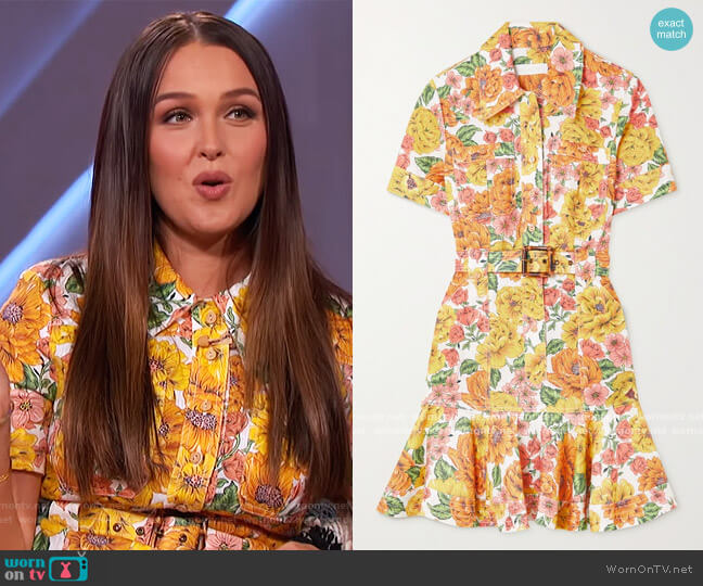 Poppy belted ruffled floral-print linen mini Dress by Zimmermann worn by Camilla Luddington on The Kelly Clarkson Show