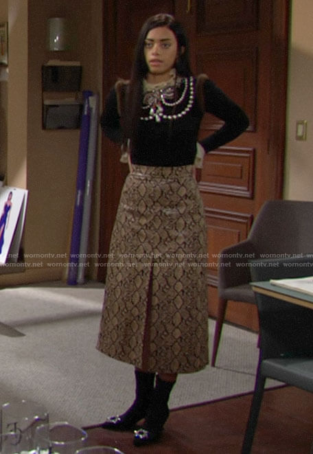 Zoe's pearl embellished sweater and snake print midi skirt on The Bold and the Beautiful