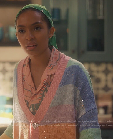 Zoey's rainbow stripe embellished cardigan on Grown-ish