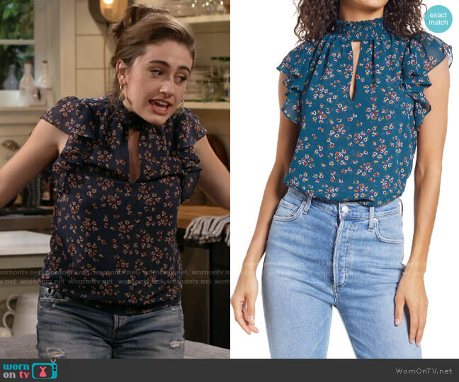 1.State Tossed Floral-Printed Smocked Flutter-Sleeve Blouse worn by Jackie Raines (Rachel Sennott) on Call Your Mother
