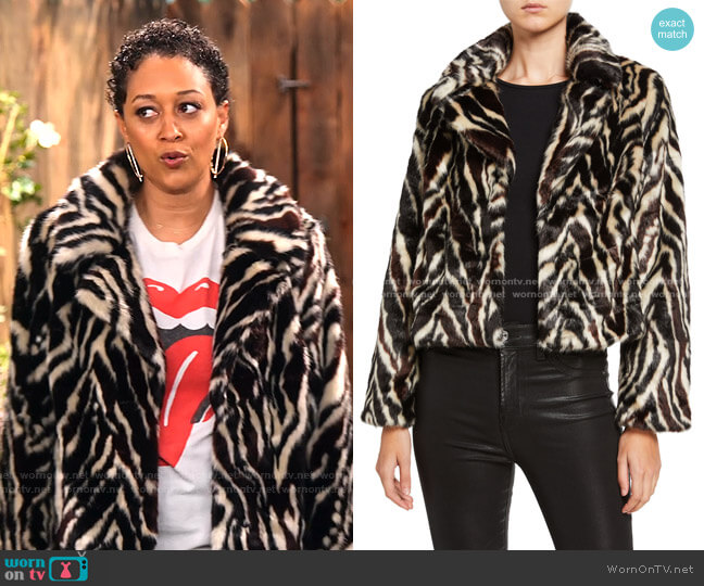 Zebra-Print Faux Fur Jacket by 7 for All Mankind worn by Cocoa McKellan (Tia Mowry-Hardrict) on Family Reunion