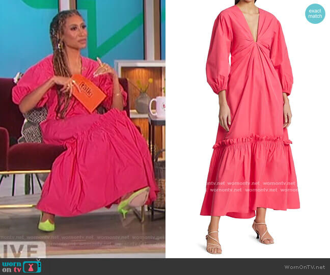 Irena Ruffle Tiered Midi Dress by A.L.C. worn by Elaine Welteroth  on The Talk