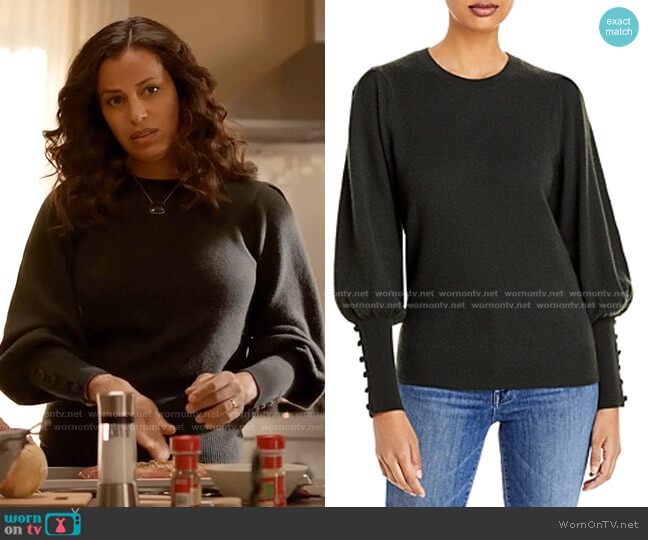 Cashmere Balloon Sleeve Sweater by Aqua Cashmere worn by Grace Stone (Athena Karkanis) on Manifest