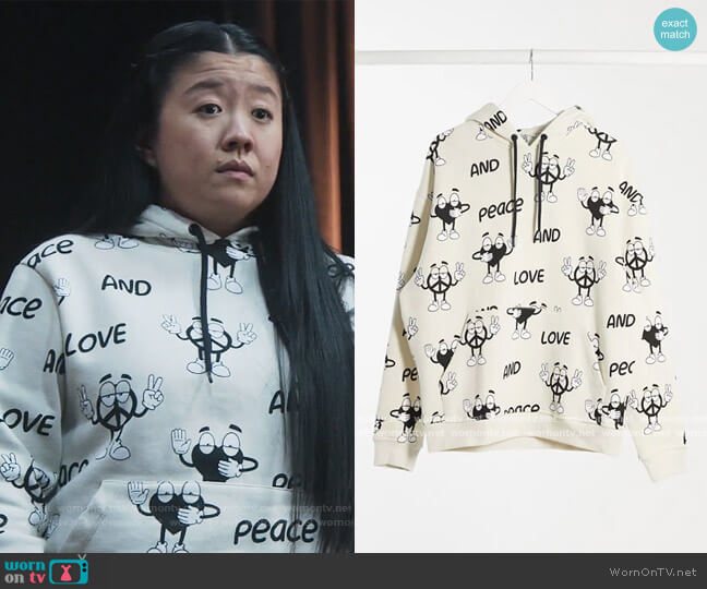 Crooked Tongues unisex hoodie with peace print by ASOS worn by Alice Kwan (Sherry Cola) on Good Trouble