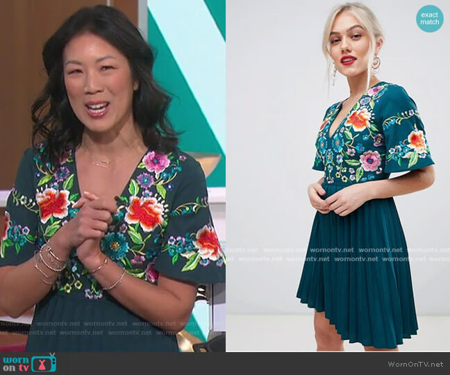 Pleated Embroidered Midi Dress by ASOS worn by Chi-Lan Lieu on The Talk
