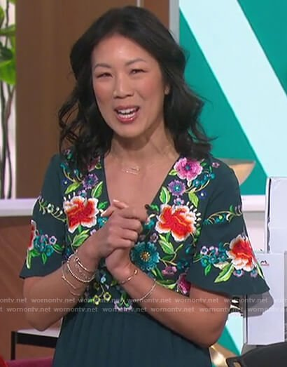 Chi-Lan Lieu's green floral embroidered dress on The Talk