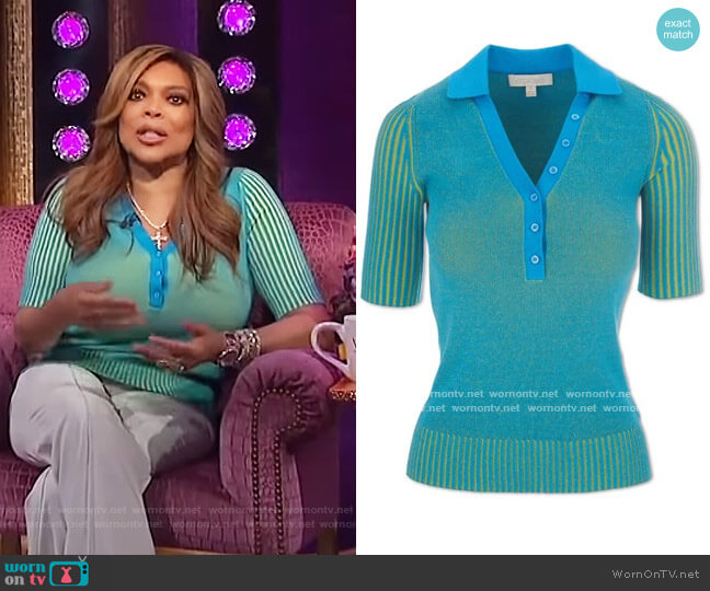 Plaited Polo Sweater by Aegean worn by Wendy Williams  on The Wendy Williams Show