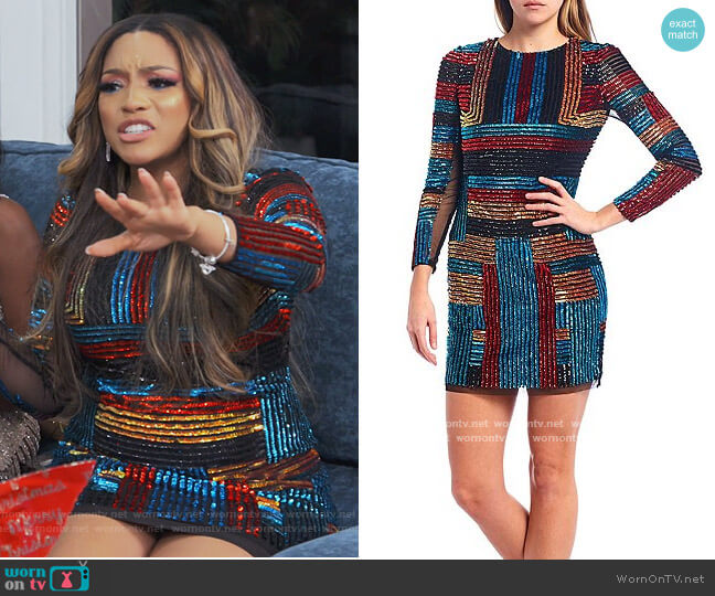 Long Sleeve Beaded Striped Mesh Mini Sheath Dress by Aidan Mattox worn by Drew Sidora  on The Real Housewives of Atlanta