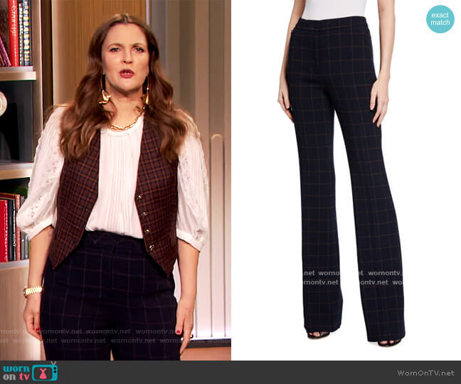 Farida Windowpane Pants by Akris worn by Drew Barrymore  on The Drew Barrymore Show
