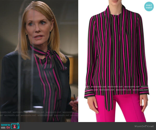 Stripe Tie Neck Silk Blouse by Akris Punto worn by Lisa Benner (Marg Helgenberger) on All Rise