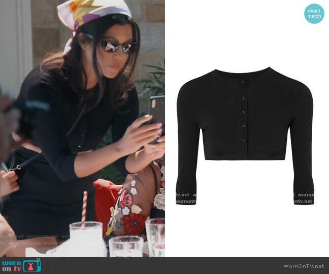 Cropped wool-blend cardigan by Alaia worn by Kourtney Kardashian  on Keeping Up with the Kardashians