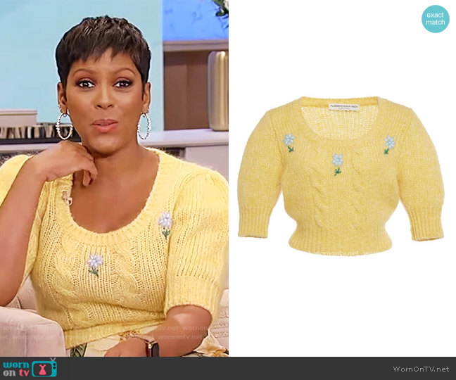 Floral-intarsia knitted jumper by Alessandra Rich worn by Tamron Hall  on Tamron Hall Show